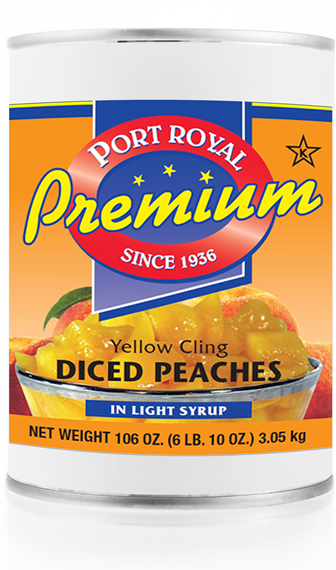 Canned yellow cling diced peaches in light syrup