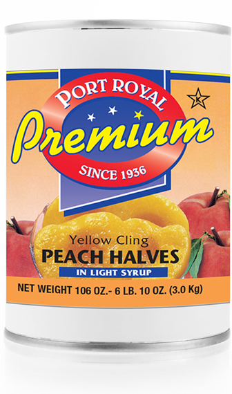 Canned yellow cling peach halves in light syrup