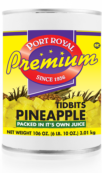 Canned  tidbits of  pineapple packed in it's own juice