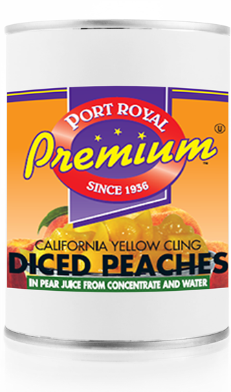 Canned California Yellow Cling Diced Peaches In Pear Juice