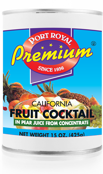 canned California fruit cocktail in pear juice from concentrate