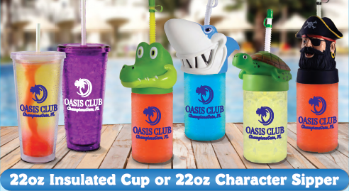 22oz insulated cup or 22oz character sipper