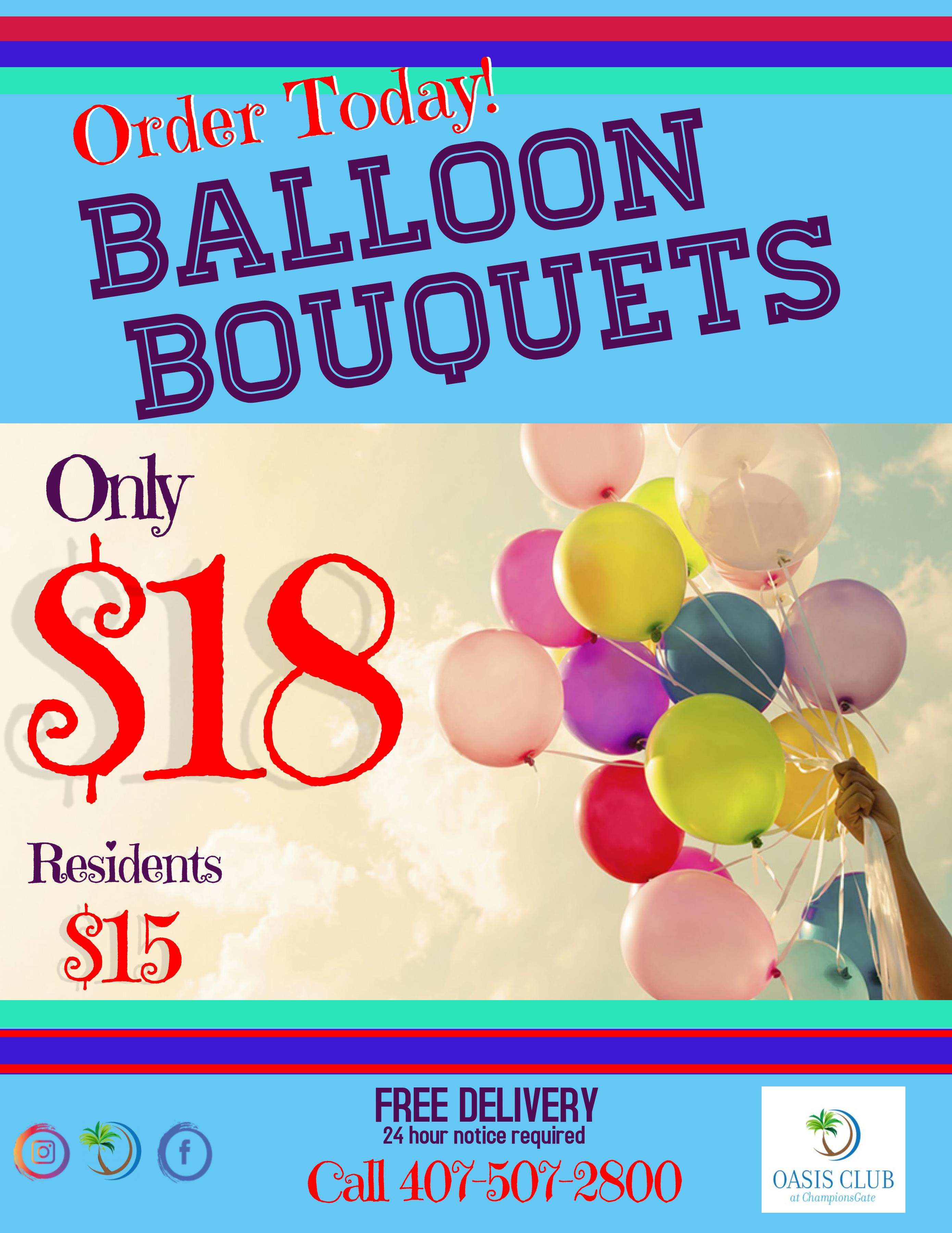 Balloon Bouquet and Delivery  1520 Oasis Club Blvd, Championsgate FL, 33896, 407-507-2800