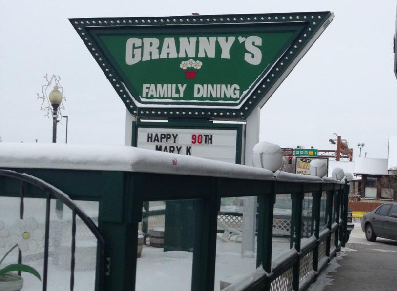 Sign saying Granny's family dining