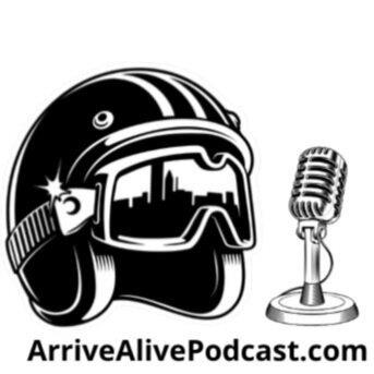 Arrive Alive Podcast logo, with picture of motorcycle helmet and microphone