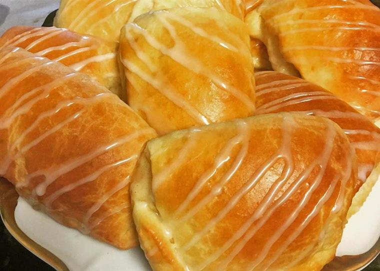 French bread pastries drizzled with a frosting