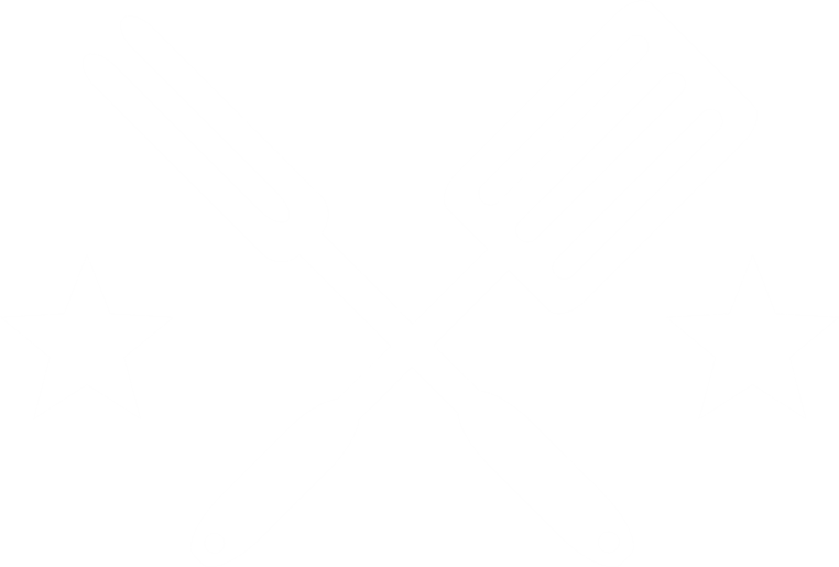 Fork and knife crossed with stars on both sides