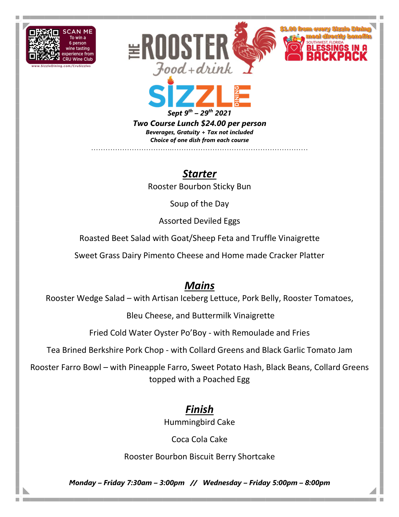 sizzle lunch menu click for PDF