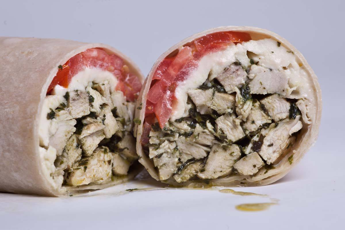 wrap with tomatoes, mozzarella cheese, grilled chicken and vinaigrette