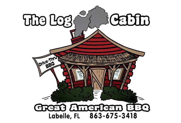The Log Cabin Great American BBQ. Labelle, FL.  863-675-3418