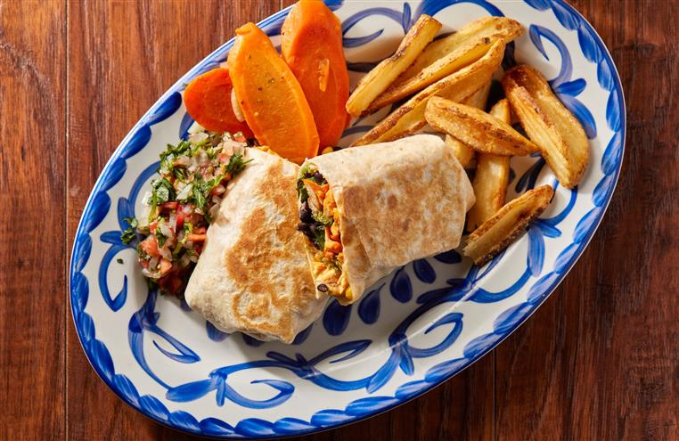 chicken burrito with fries, carrots and pico de gallo on the side.