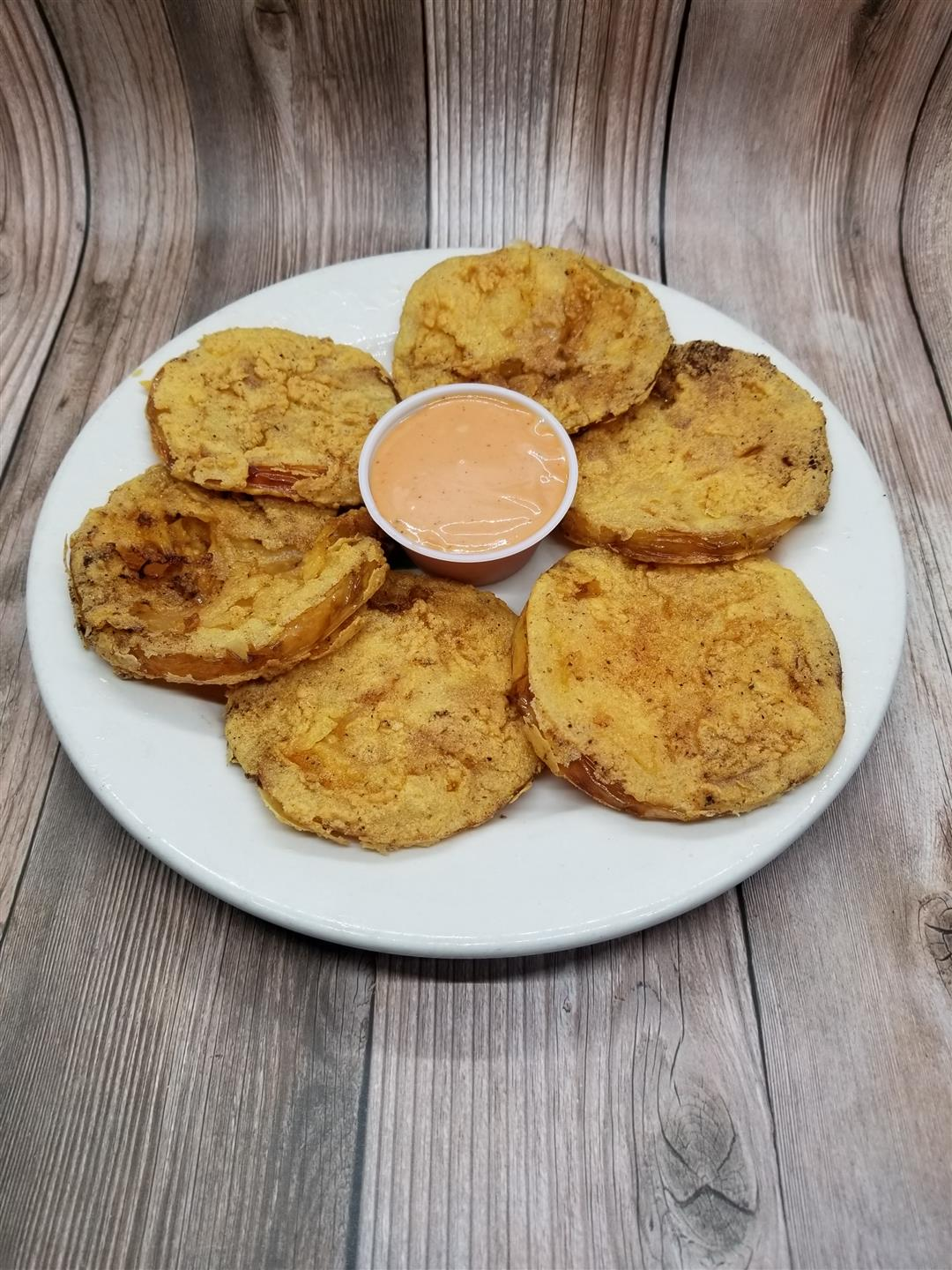 Fried Green Tomaotes with Hazel Sauce