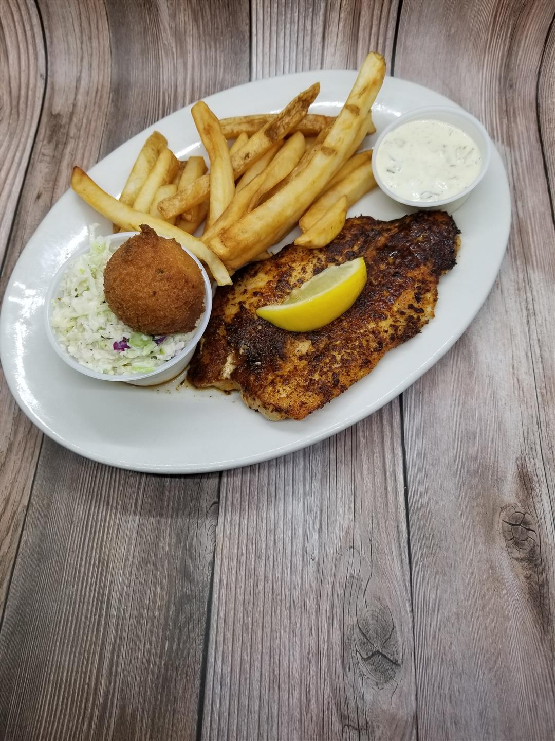 Lunch Blackened Grooper Entree with Regular Fries