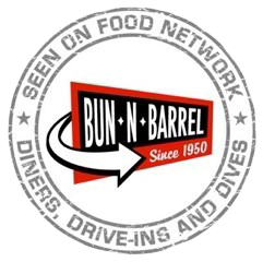 Seen on food network: Diners, Drive-Ins And Dives. Bun N Barrel, since 1950