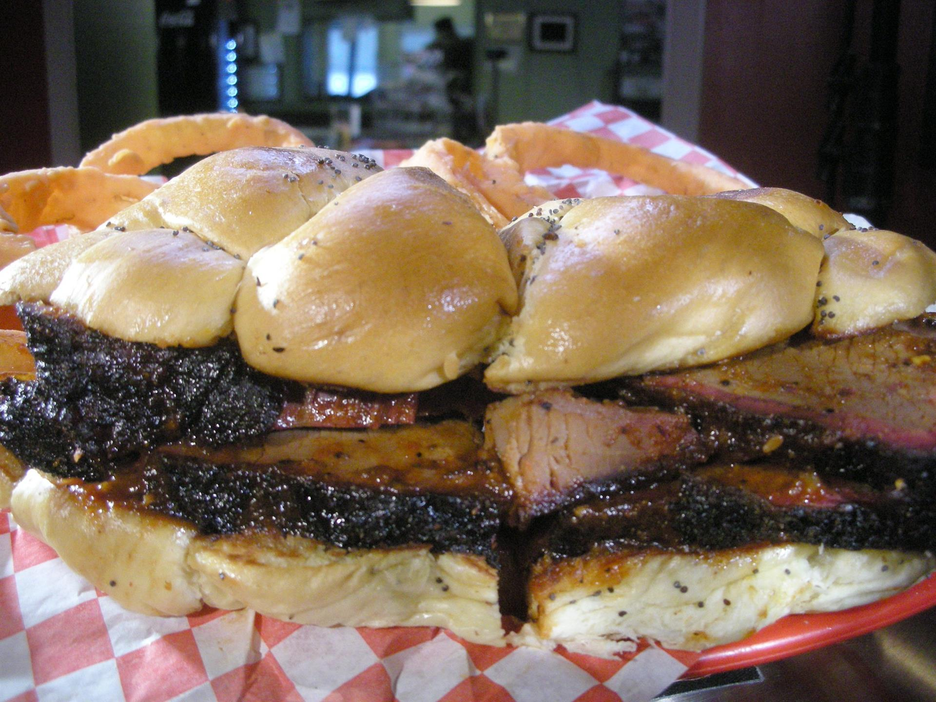 BBQ Brisket sandwich on a bun