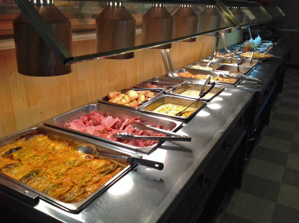 assortment of trays in buffet station