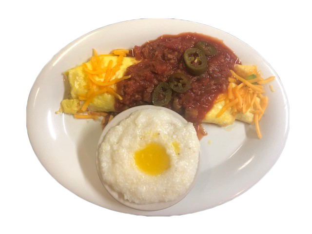 omelette topped with salsa and jalapenos with a side of grits