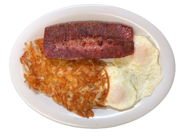 2 fried eggs with a georgia link sausage and hashbrown on the side