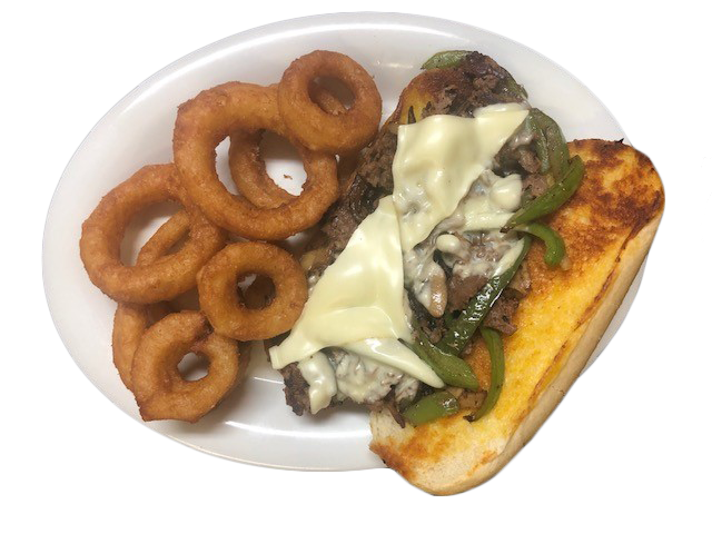 philly cheesesteak sandwich with peppers on a hoagie roll served with onion rings