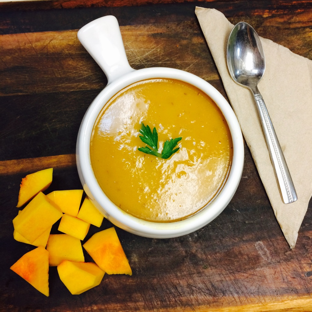 A bowl of butternut squash soup