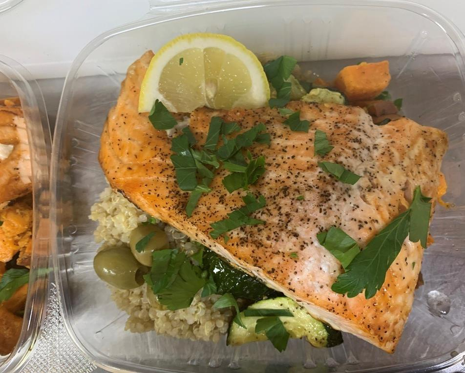 Salmon over rice with olives