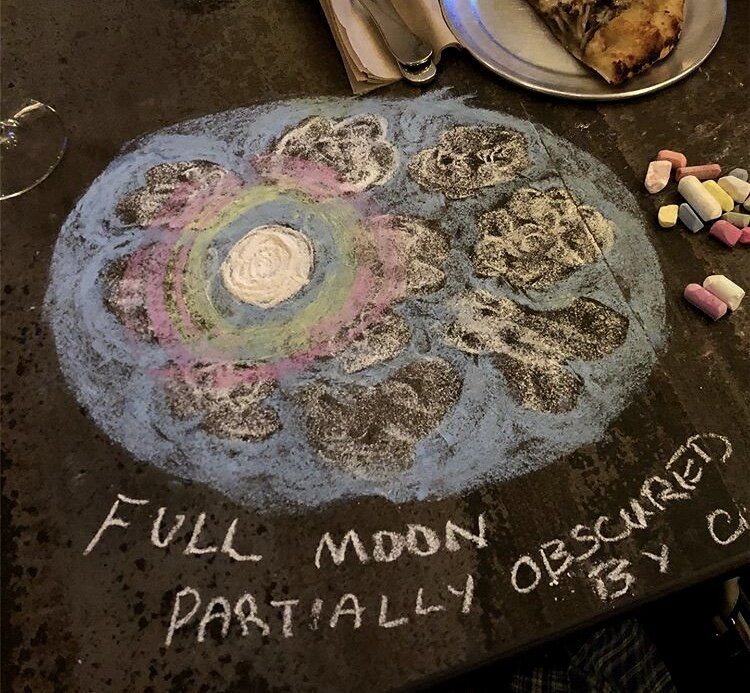 chalk art drawing on table top