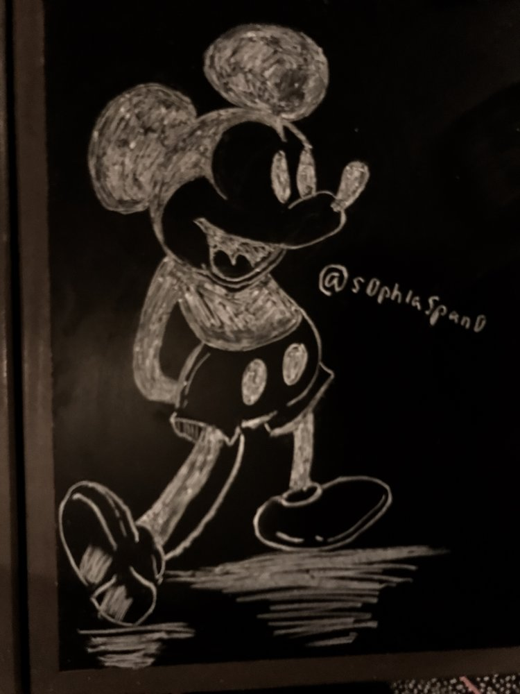 chalk art drawing of mickey mouse