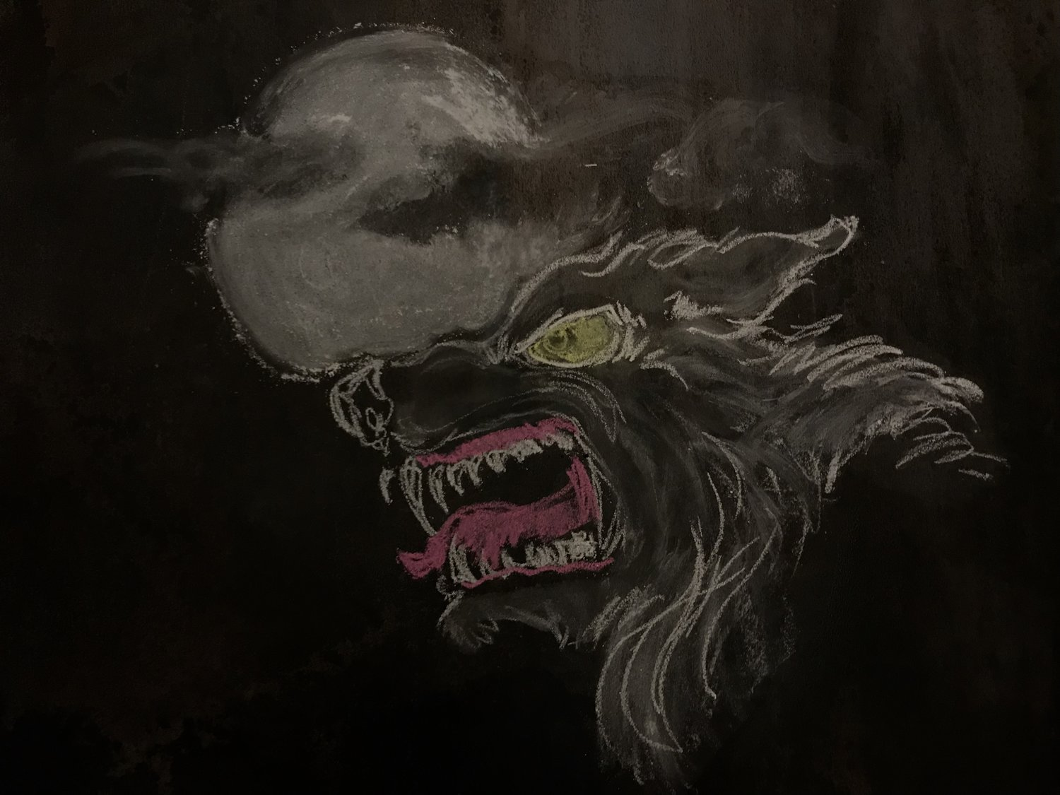 chalk drawing of wolf and moon