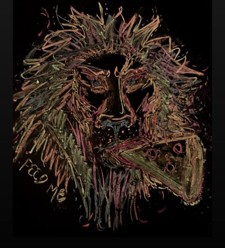 chalk drawing of a lion eating a slice of pizza