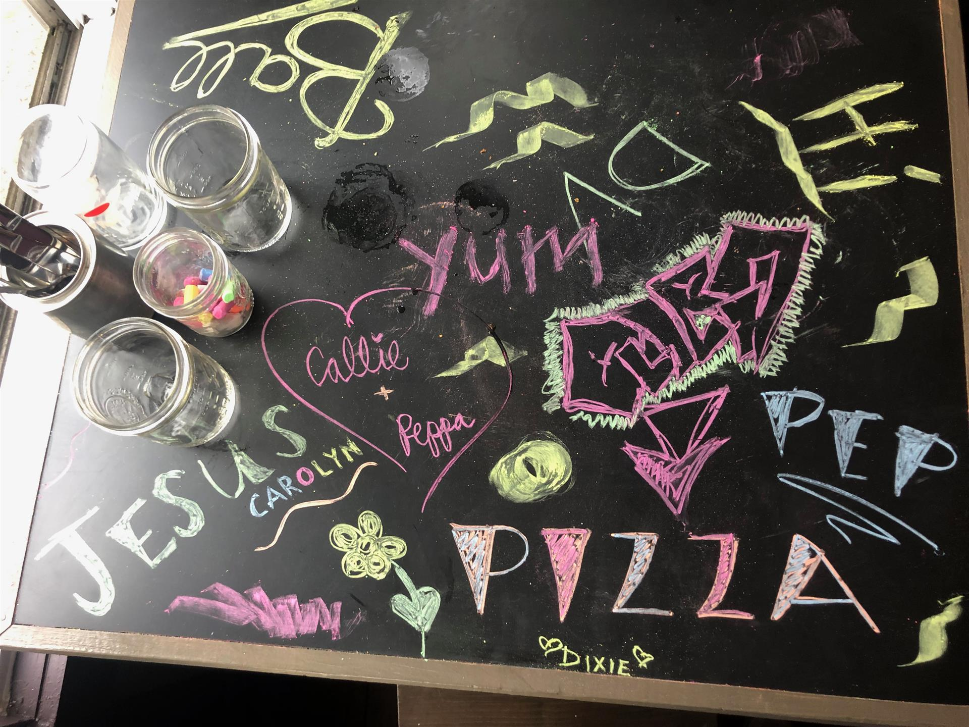 chalk art of verbiage on a table