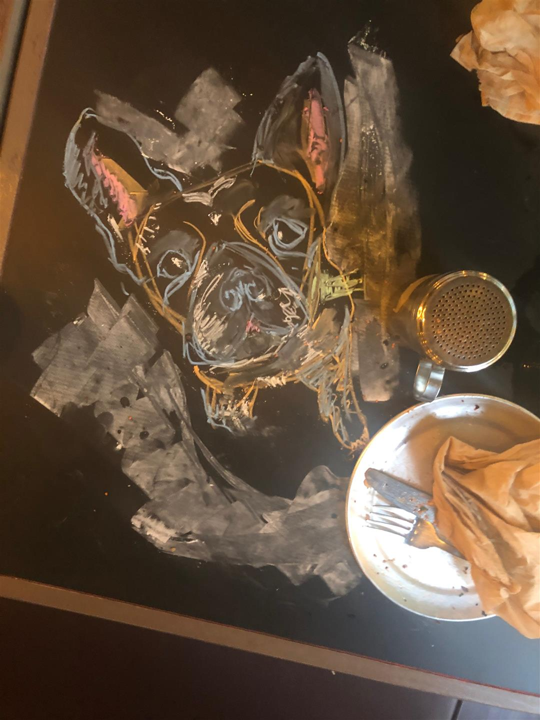 chalk art drawing of french bull dog