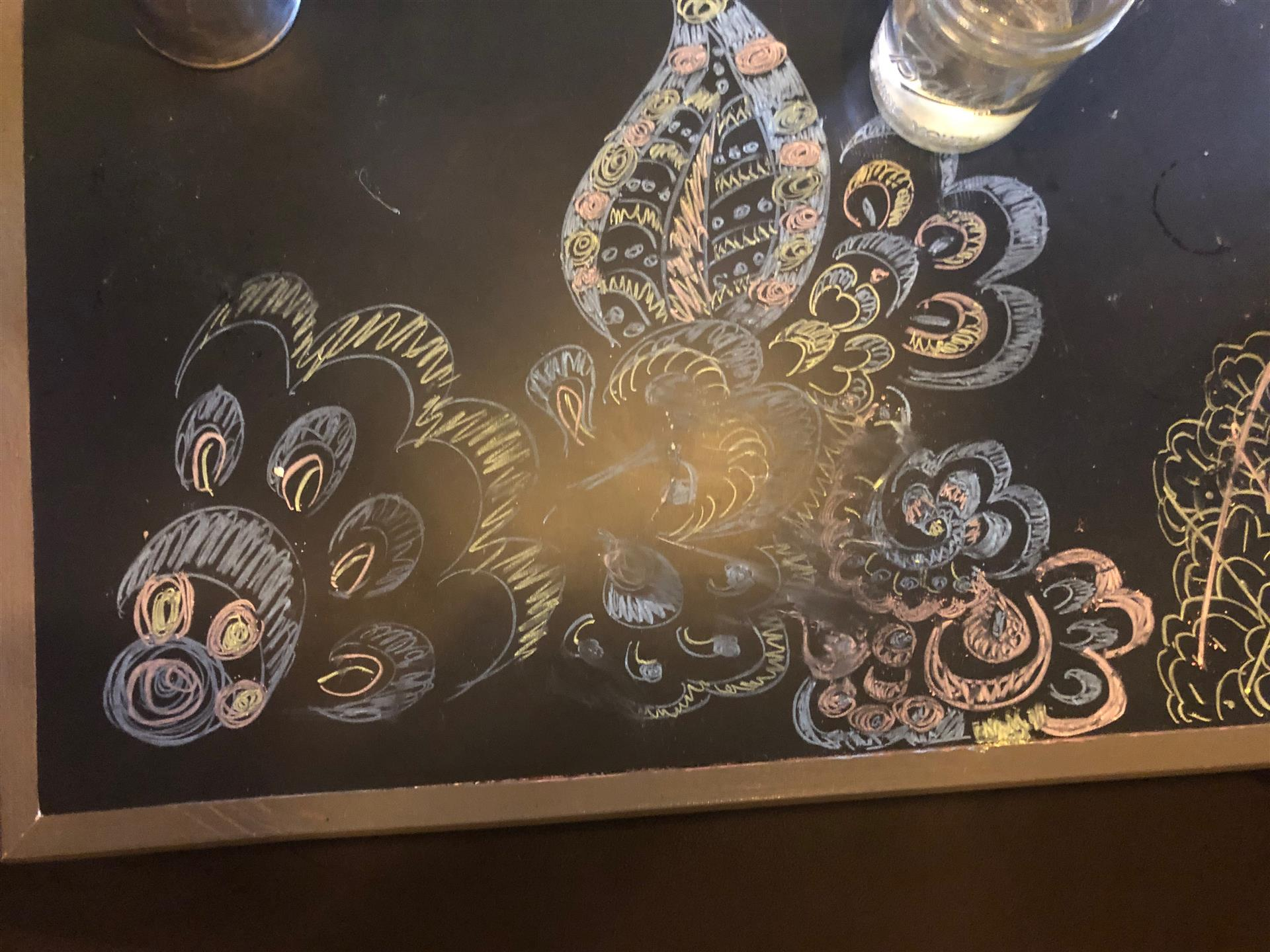 chalk art drawing on a table