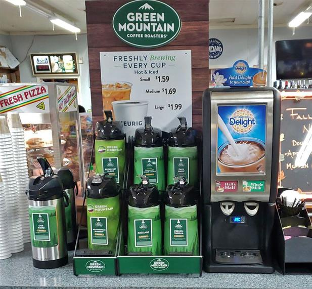 A Green Mountain brand coffee station with 7 varieties of Green Mountain coffee flavors