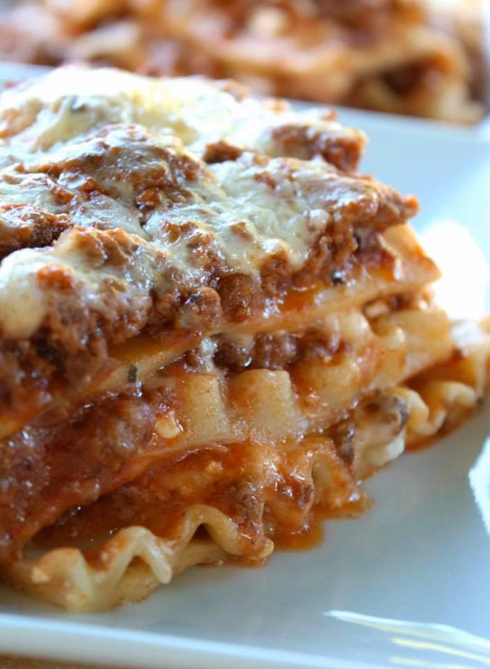 meat lasagna with cheese on top