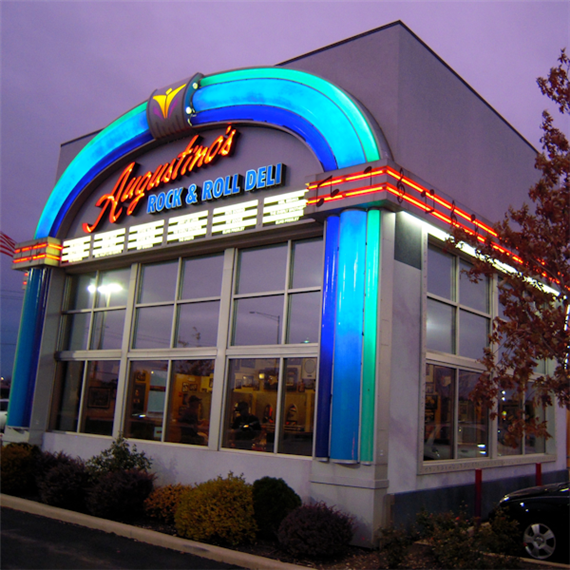 exterior view of Augustino's Rock & Roll Deli wth retro lights