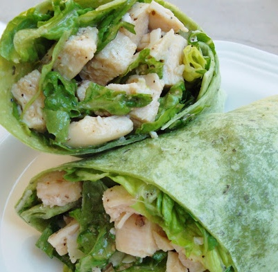 chicken caesar wrap in a spinach wrap