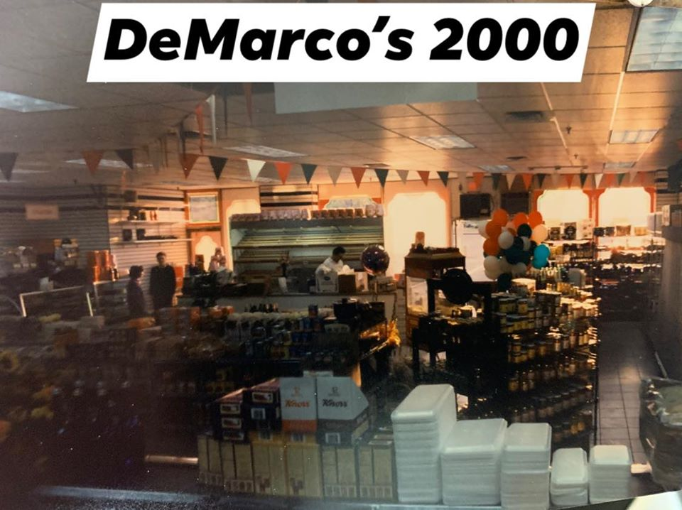 The inside of DeMarco's in 2000. Many shelves filled with products