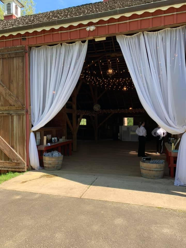 A catering event in a barn