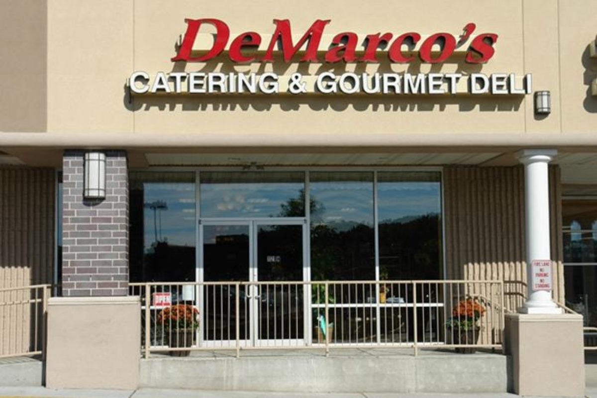The outside storefront of DeMarco's Catering and Gourmet Deli