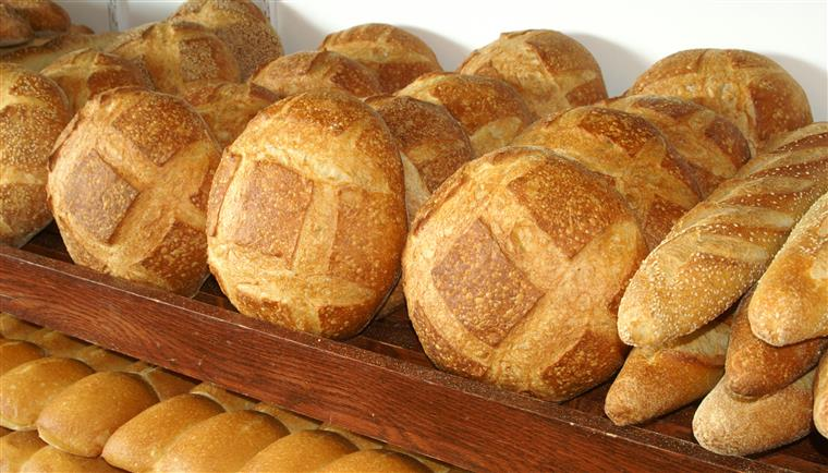 Large round bread in rows on a wooden shelf