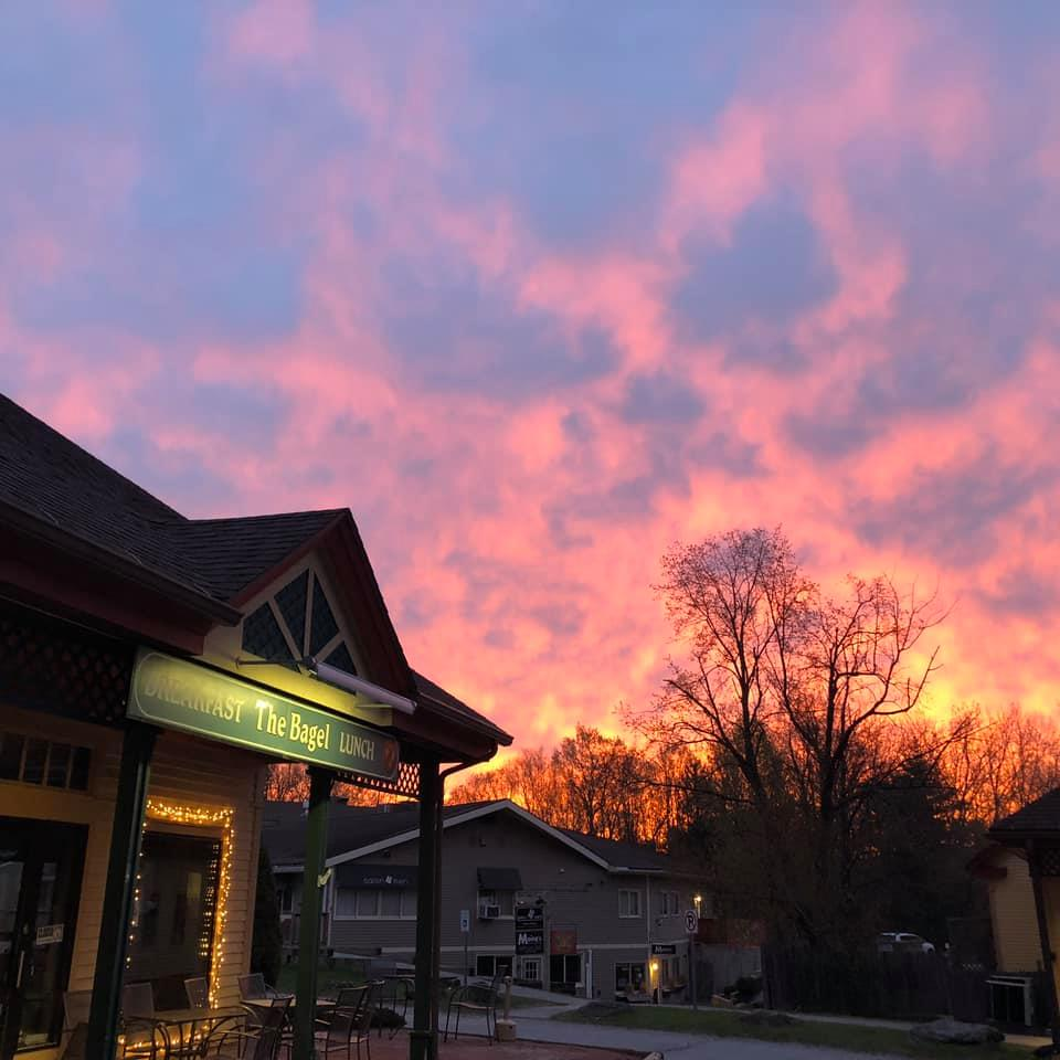 front entrance of the bagel at sunset