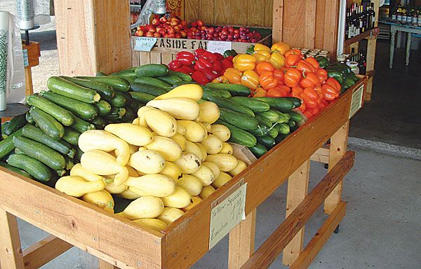 wooden table inside the farmers market with various vegetables such as zucchini, squash, peppers and tomatoes