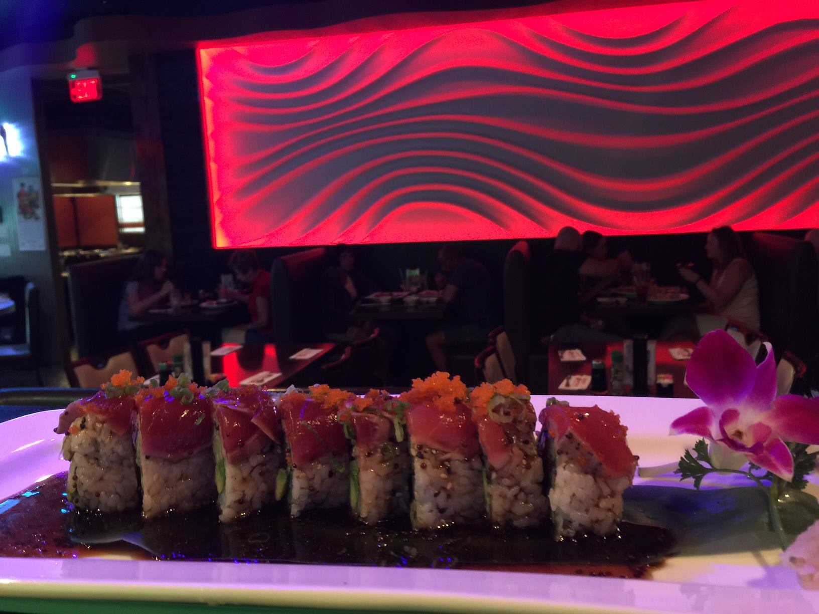 sushi roll on sushi bar