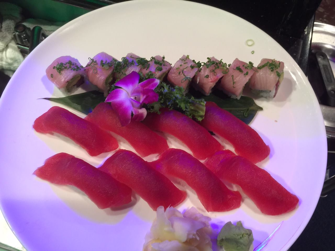plate of sushi and sashimi