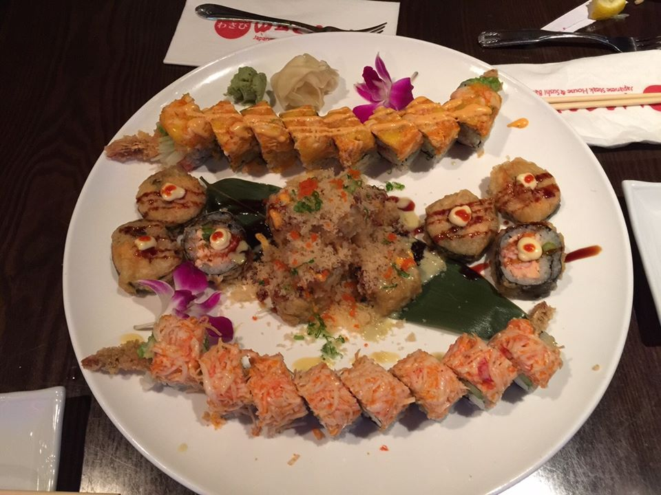 close up of a platter with special rolls