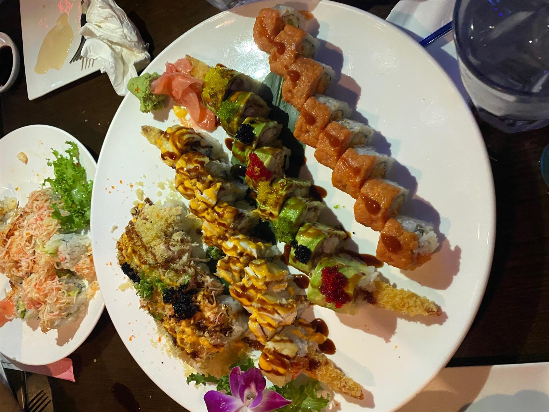 a variety of sushi rolls