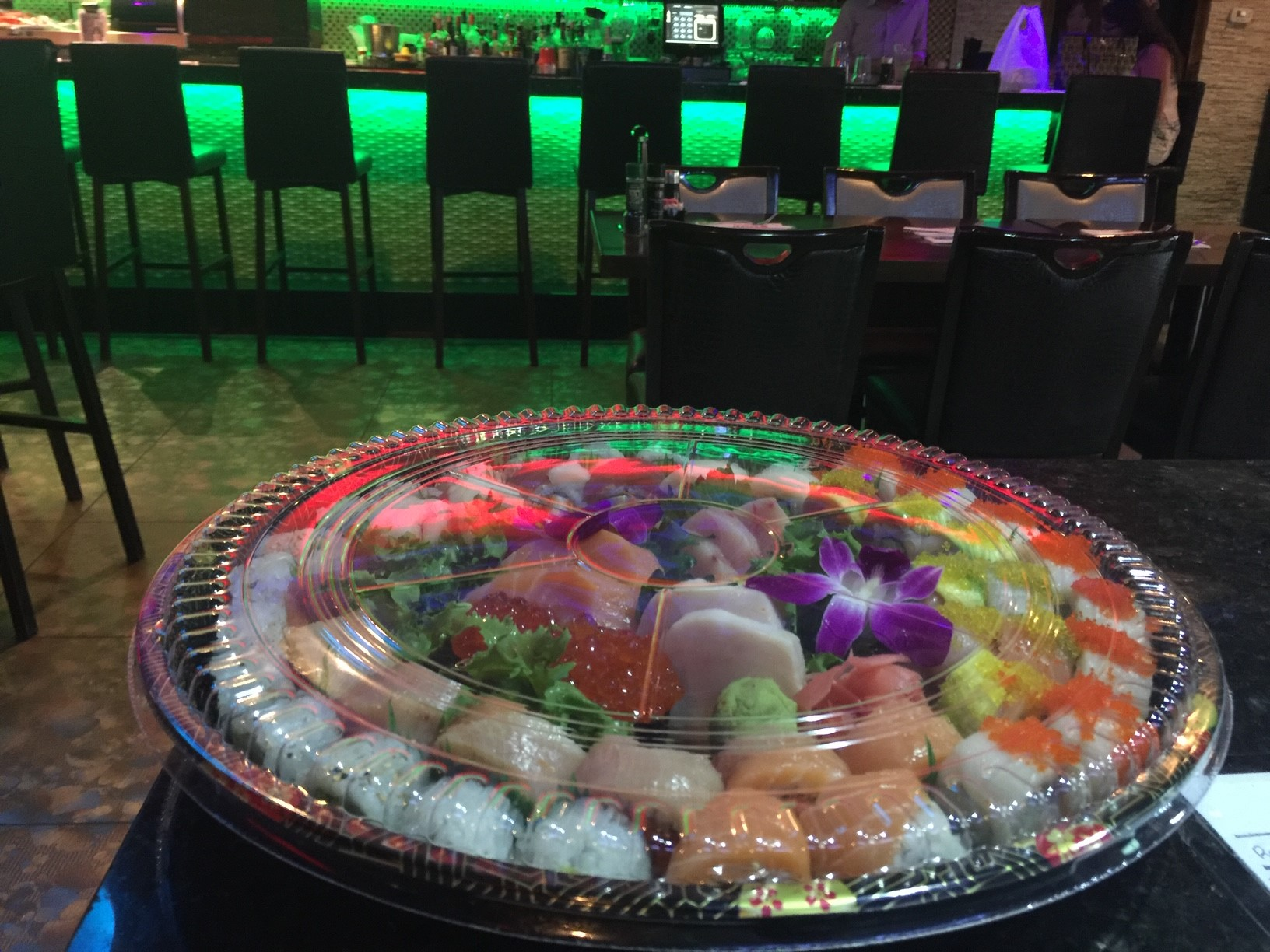 sushi platter wrapped to go