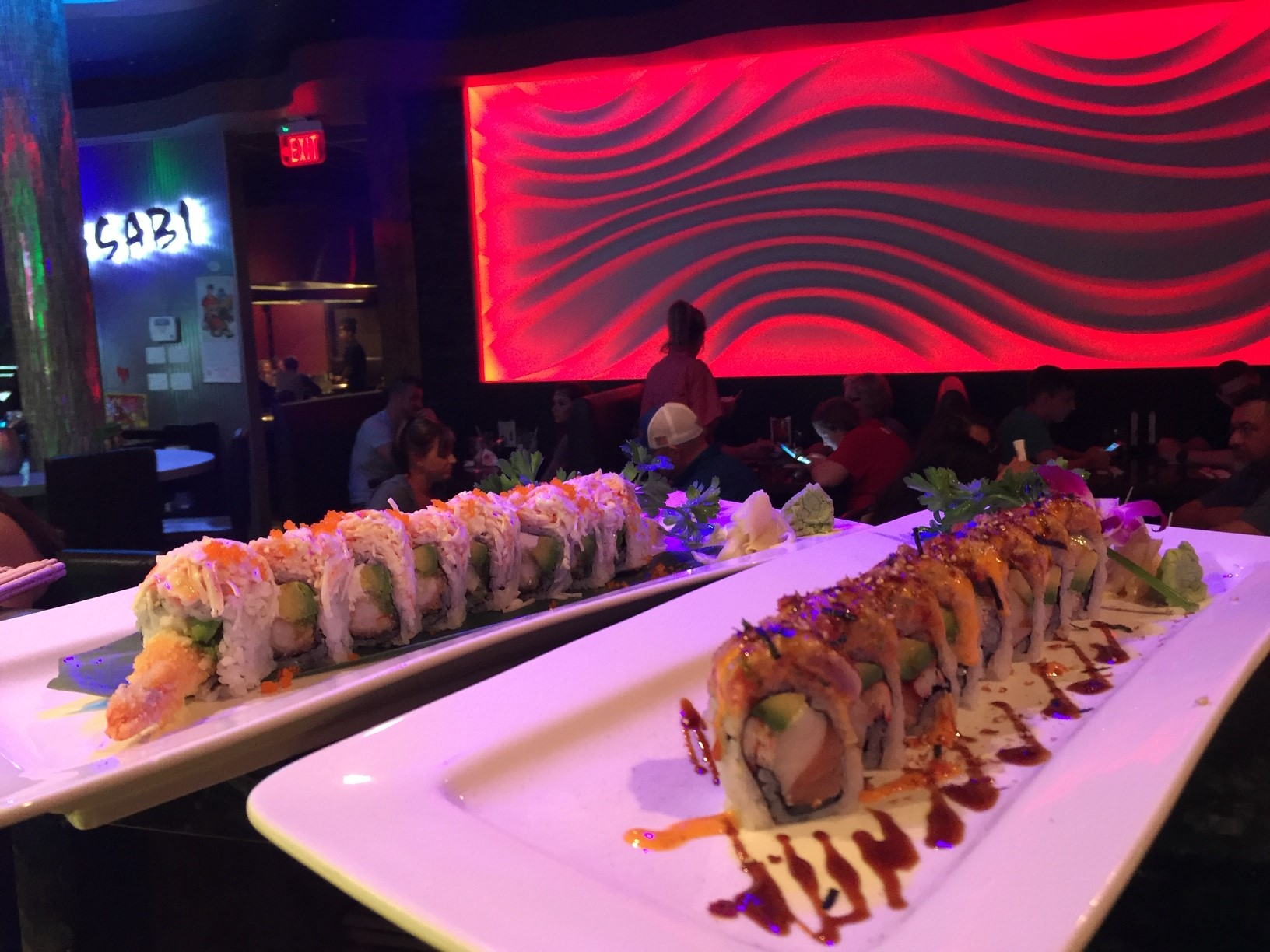 two different sushi platters
