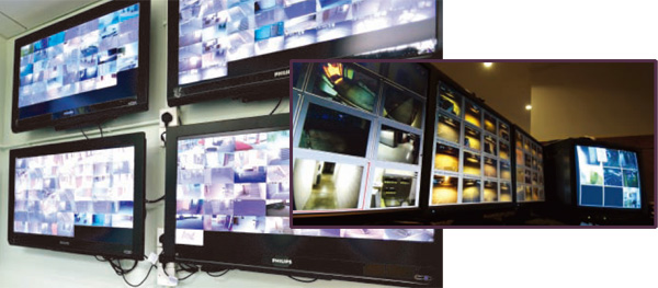 image of monitors set up with security footage shown on screens