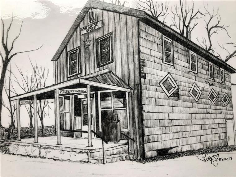 vintage sketch of Moonshine Store